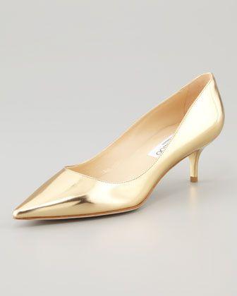 Gold Pumps Low Heel