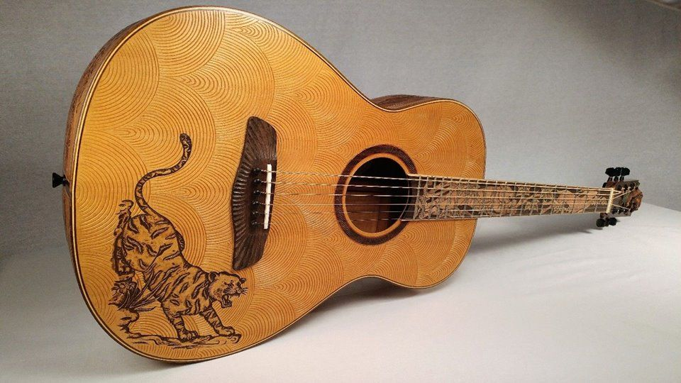 Blueberry Parlour Guitar Tiger Motif Guitar Lovers Guitar Acoustic