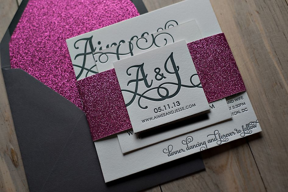 Cheap Letterpress Wedding Invitations: Glittery Invitations