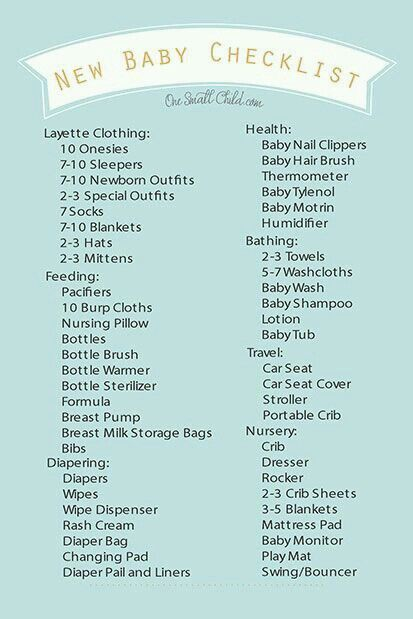 Really Good Checklist For Any Mommy