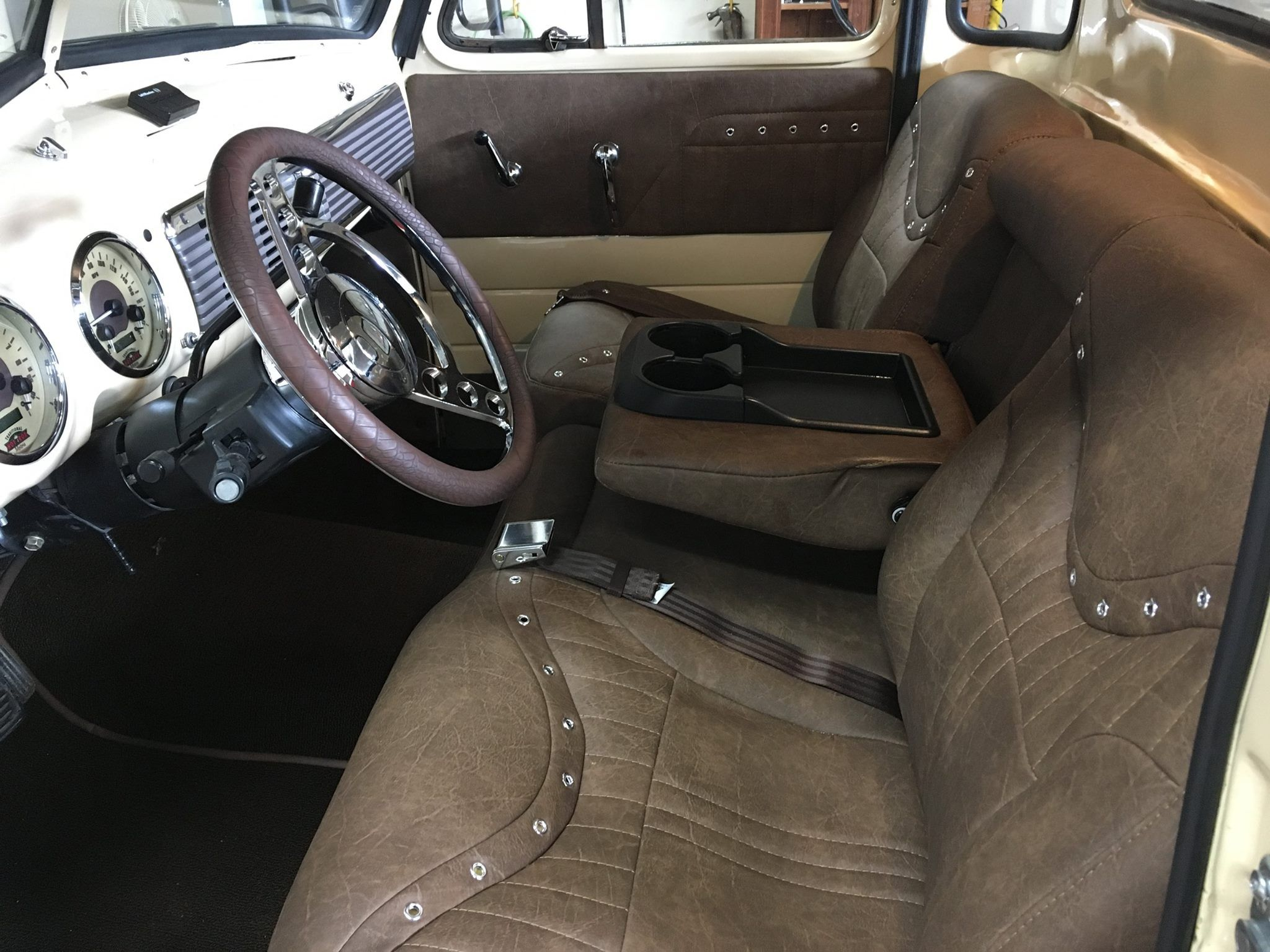 Suburban Bench Seat Part - 32: Custom Upholstery On A Suburban Row Bench Seat Swapped Into An Advance  Design Chevy Pickup.