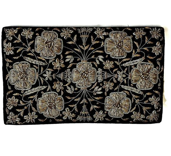 Velvet Embroidered Purse Gold and Silver Metallic Zardozi Embroidery Clutch