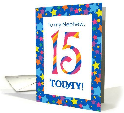15th birthday card for nephew bright stripes and stars card up to 15th birthday card for nephew bright stripes and stars card up to 350 bookmarktalkfo Images