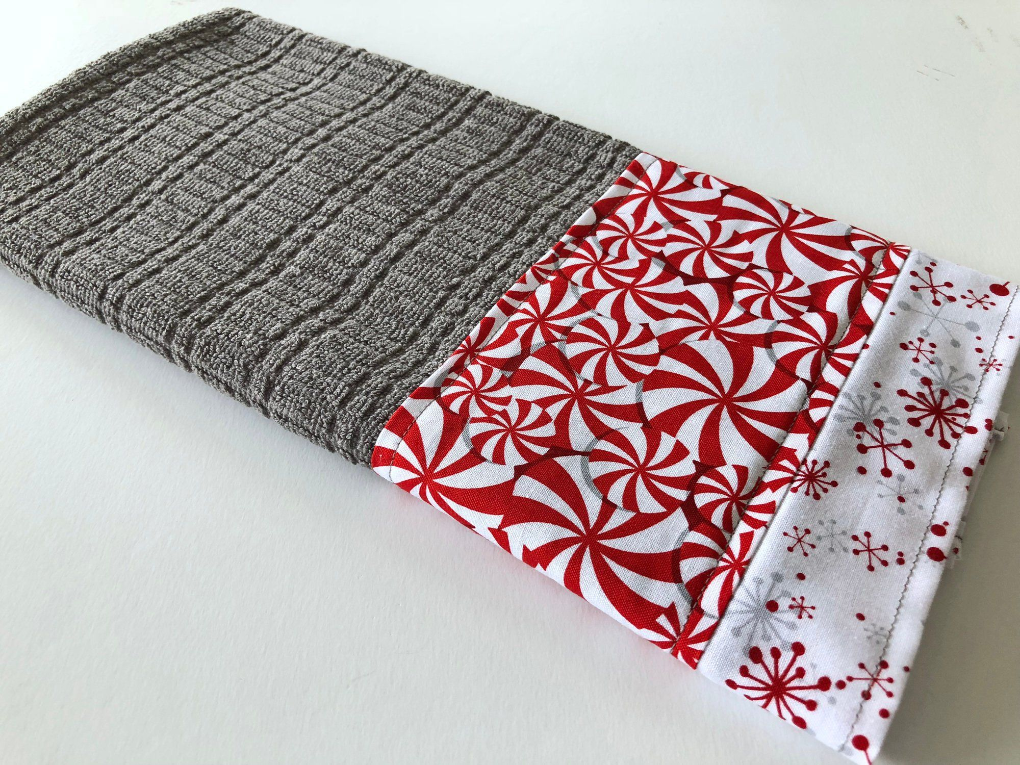 Peppermints Snowflakes on Grey Kitchen Dish Towel, Fabric ...