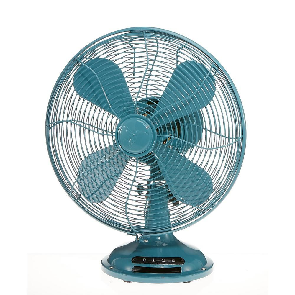 Designer Aire 12 In 3 Speed Euro Retro Peacock Teal Table Fan