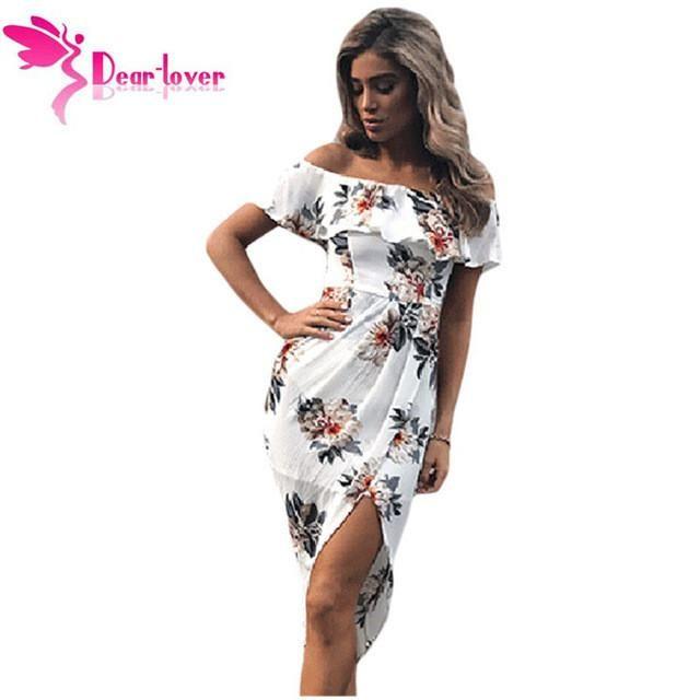 Dear Lover Print Dresses 2017 Summer Tropical Palm Leaf