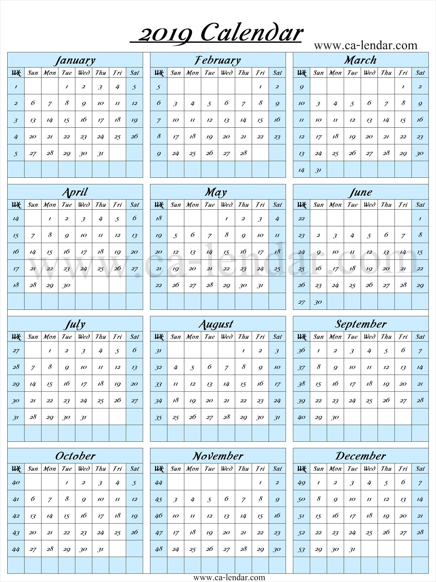 2019 Calendar With Week Numbers Printable Calendar With Week
