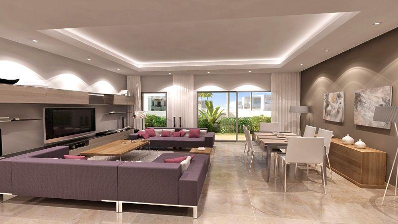 Faux plafond design salon google ba13 pinterest for Faux plafond salon moderne