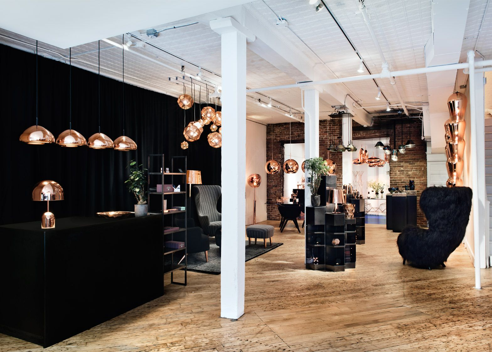 Tom Dixon's Howard Street store in SoHo includes a furry room