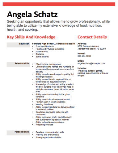 Food Delivery Teen Resume Professional Resume Examples Pinterest