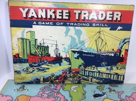 Yankee Trader: A Game of Trading Skill.1941Corey Fames: A division of Quality Paper Box Co.East Boston, MassWow! this game is so neat! At almost 80 years old, it is as vintage as you can get. The box edges have some wear and one corner has been taped but otherwise, it is in very good shape and has such bright colors! The directions are on the inside of the cover and there are trading forms. Also, there are also 3 game pieces that are trading ships that fit into colored wooden bases. The 2 red di