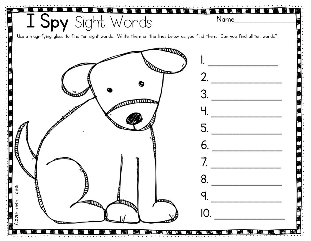 I Spy 100 Worksheet