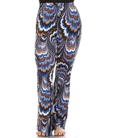 This Brown & Blue Tie-Dye Hi-Waist Flared Pants - Plus is perfect! #zulilyfinds