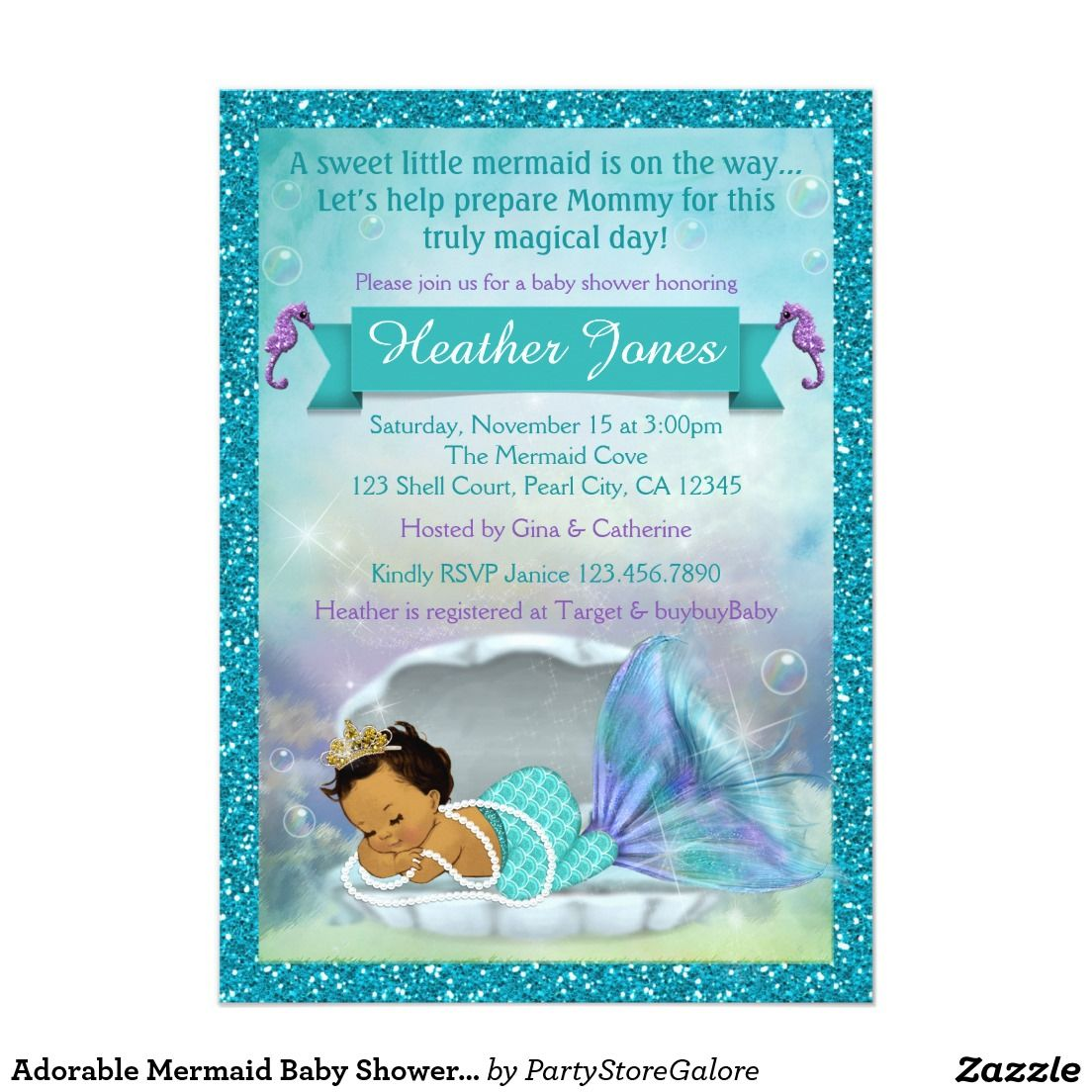 Adorable Mermaid Baby Shower Invitations #136 MED | KENNEDI\'S ...