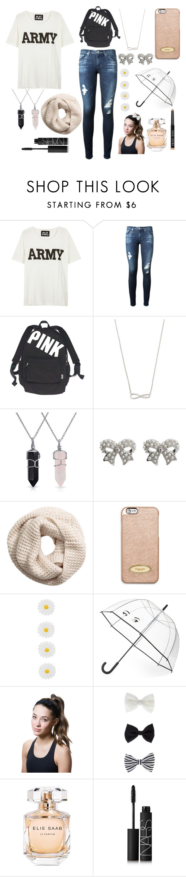 """""""Untitled #198"""" by fashionprincess46 ❤ liked on Polyvore featuring NLST, AG Adriano Goldschmied, Victoria's Secret, Bling Jewelry, M&Co, H&M, MICHAEL Michael Kors, Monsoon, Kate Spade and Titika"""
