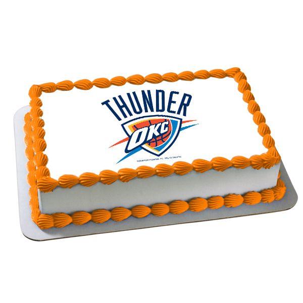 Thunder Birthday Party   NBA Oklahoma City Thunder Edible Image Cake  Decoration, FREE Shipping .
