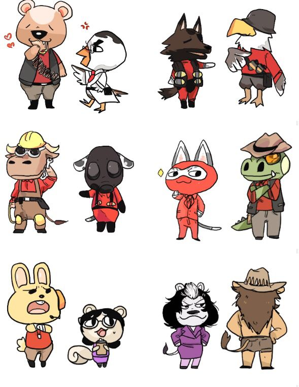 All Classes Animal Crossing Fan Art Team Fortress 2 Team Fortess 2
