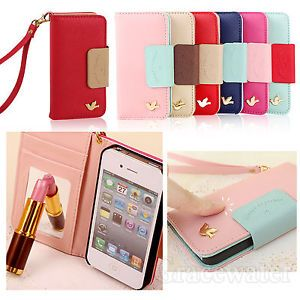 Wallet Card Flip Case Cover Holder PU Leather Phone for Apple IPhone 4 4S 5 5S