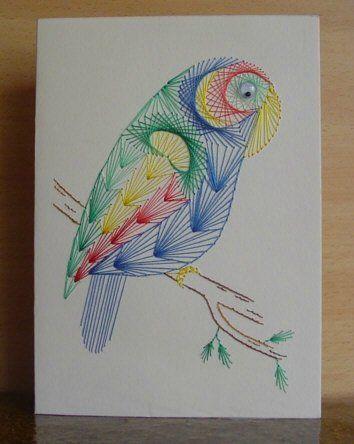 43 صورة لروائع فن الرسم باستخدام المسامير و الخيوط Paper Embroidery Embroidery Cards Pattern Embroidery Cards