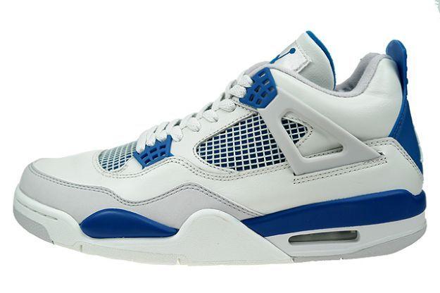 Air Jordan 4 Iv Retro White Military Blue Neutral Grey Kicksonfire Com Air Jordans Jordans Air Jordan Iv