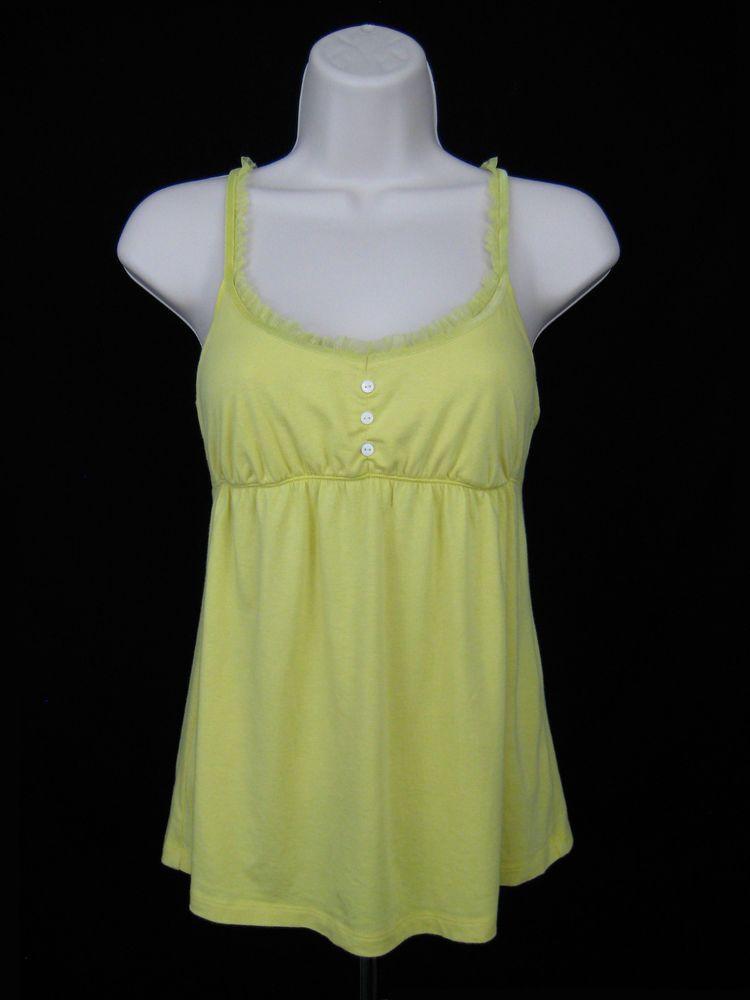 7d1072ad2c374e Victoria s Secret Cami Tank Top Women Sz M Yellow Lace Stretch Adjustable  Strap  VictoriasSecret  CamiTank