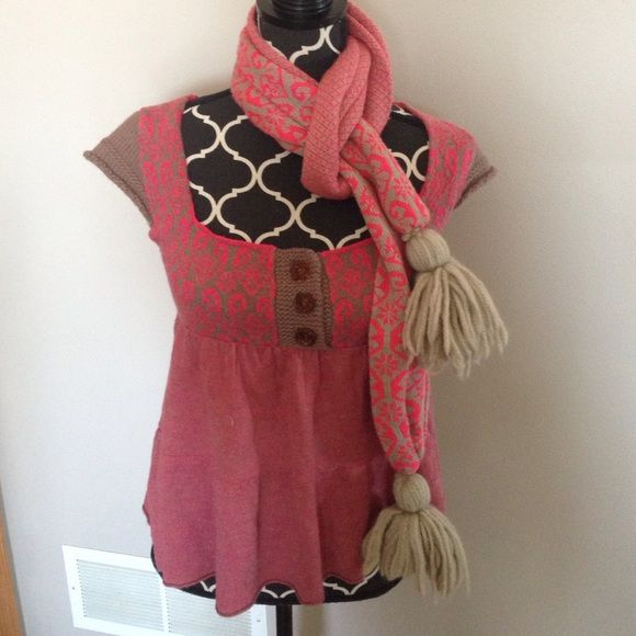 Free people fair isle scarf/sweater set In excellent
