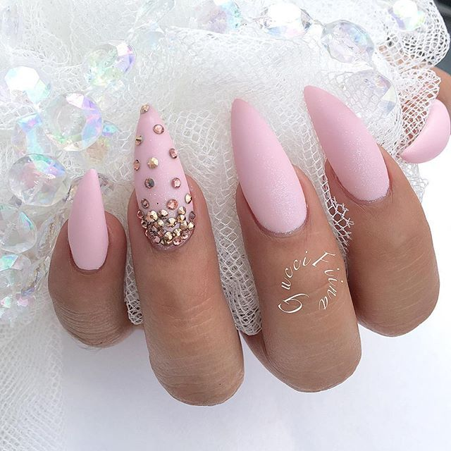 Pastel pink stiletto nails with rhinestones pink paradise pink pastel pink stiletto nails with rhinestones pastel hair diy solutioingenieria Image collections