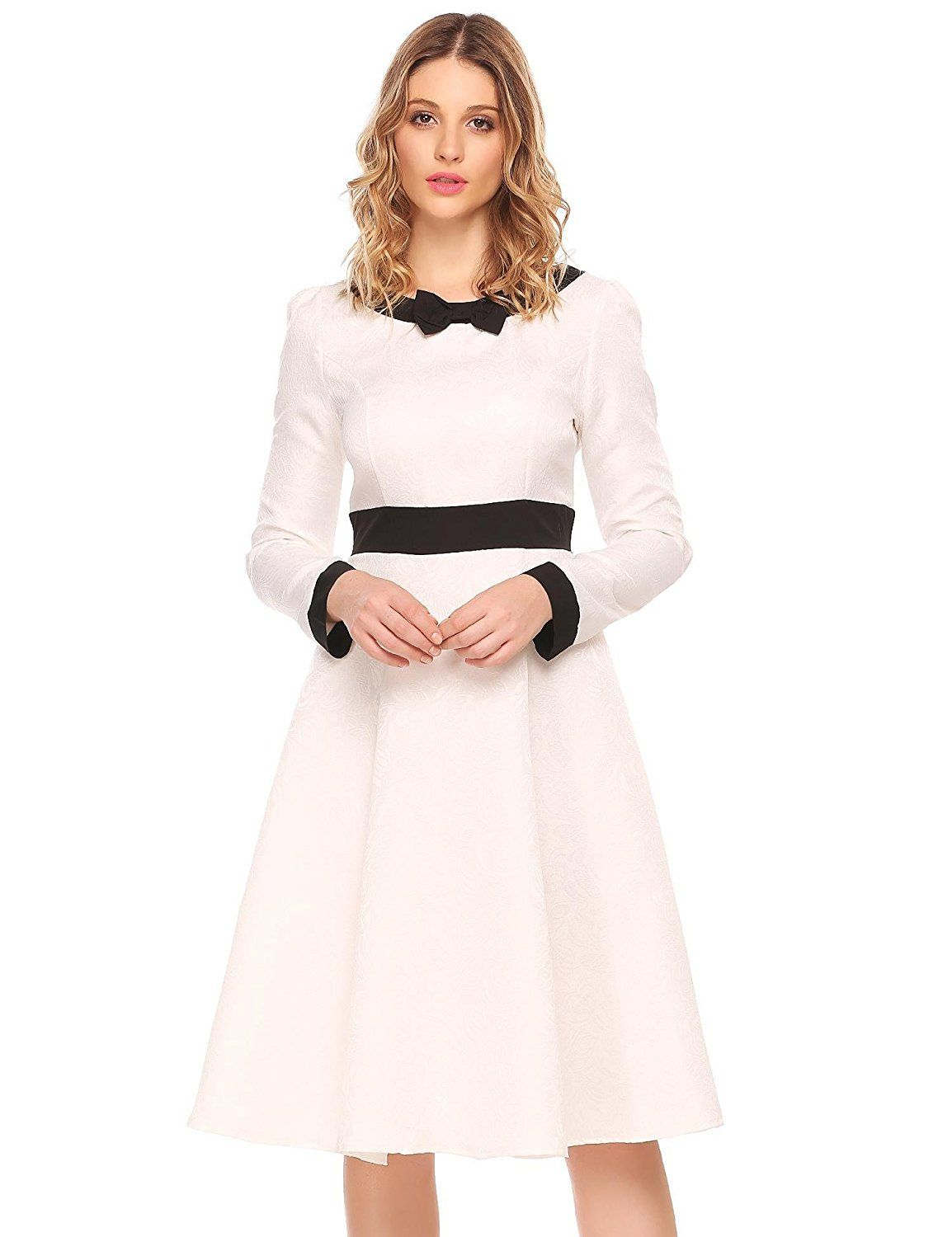 Dresses for a winter wedding reception  ACEVOG Womenus Vintage Long Sleeve Swing Cocktail Party Dress