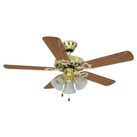 Mainstays 42 inch dual mount 3 light ceiling fan bright brass mainstays 42 inch dual mount 3 light ceiling fan bright brass 17775 mozeypictures Choice Image