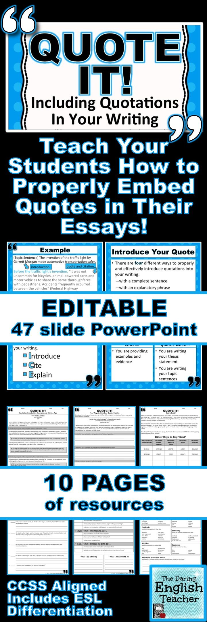 Teach your students how to properly embed quotations in their writing. CCSS  Aligned. Includes ESL Differentiati…   Teaching writing [ 2160 x 720 Pixel ]