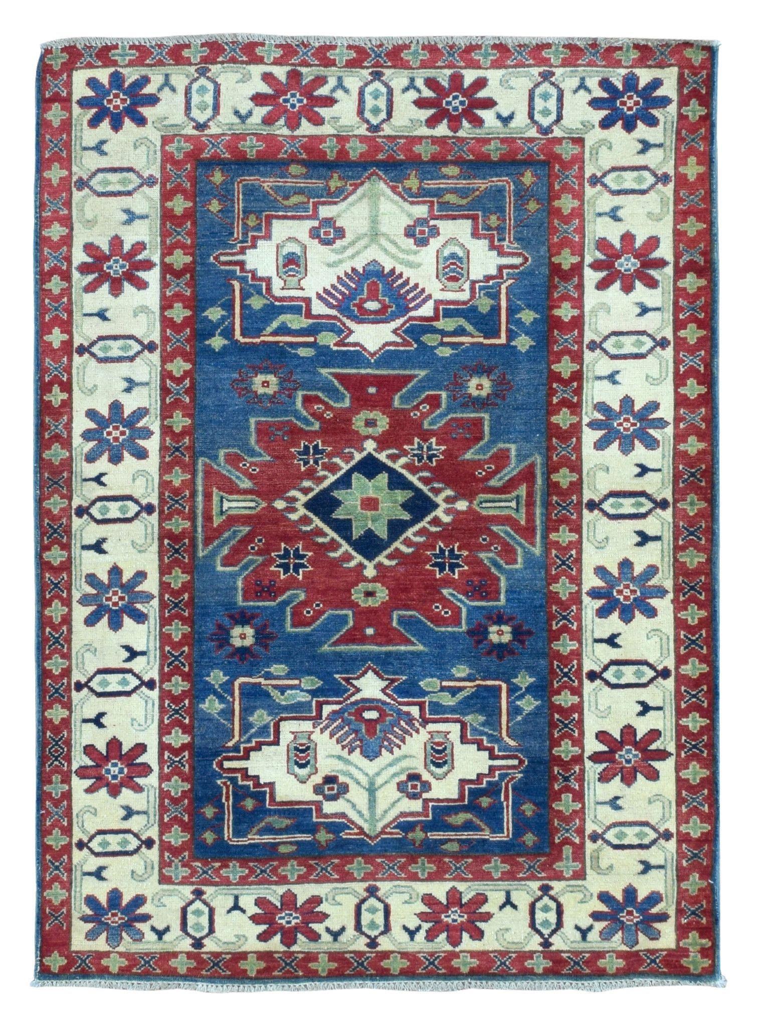 Small Pakistan Kazak Oriental Rug 4x5 4 Motivos Turcos