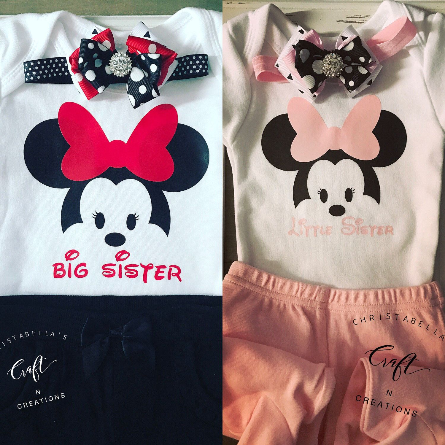 Minnie Mouse Big Sister Little Sister Outfits Minnie Mouse Bodysuit Outfits Minnie Mouse Baby Shower Baby Reveal Big Sister Little Sister Minnie Big Sister