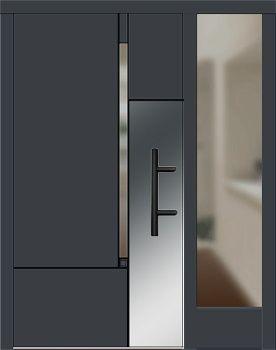 Haustüren mit breitem seitenteil  Holz Haustür Modell 8380 anthrazitgrau mit Seitenteil rechts ...