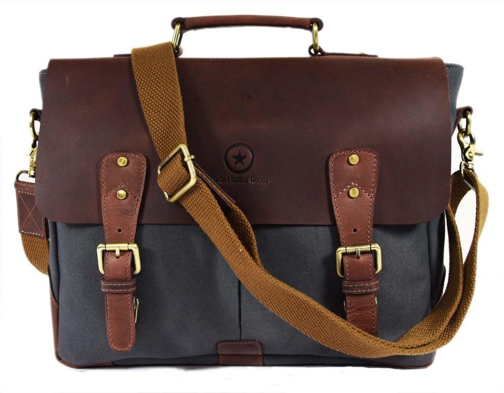7e1032881e Details about Handmade Leather Canvas Vintage Crossbody Messenger ...