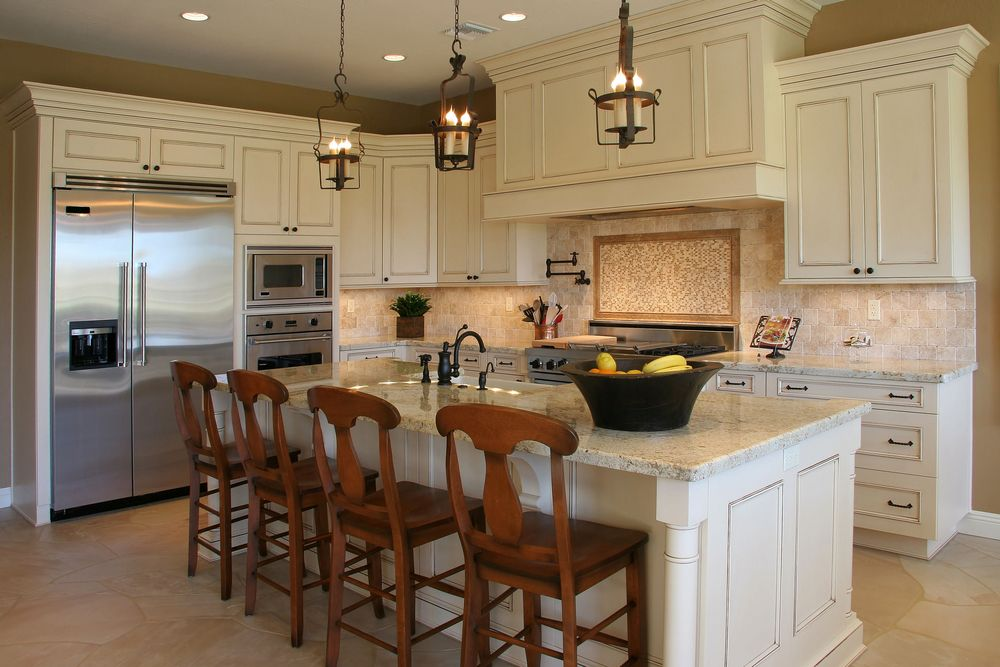 coastal living kitchens, cherry Glazed Merano cabinets with