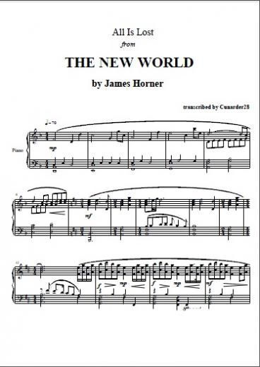 The New World All Is Lost James Horner Piano Plateau Sheet