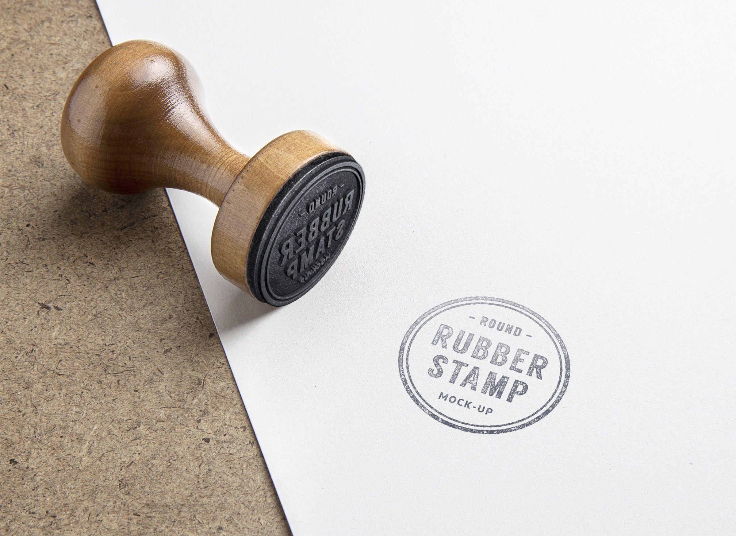 Rubber Stamp PSD MockUp Free Graphic Design Presentation Resource Showcase Template