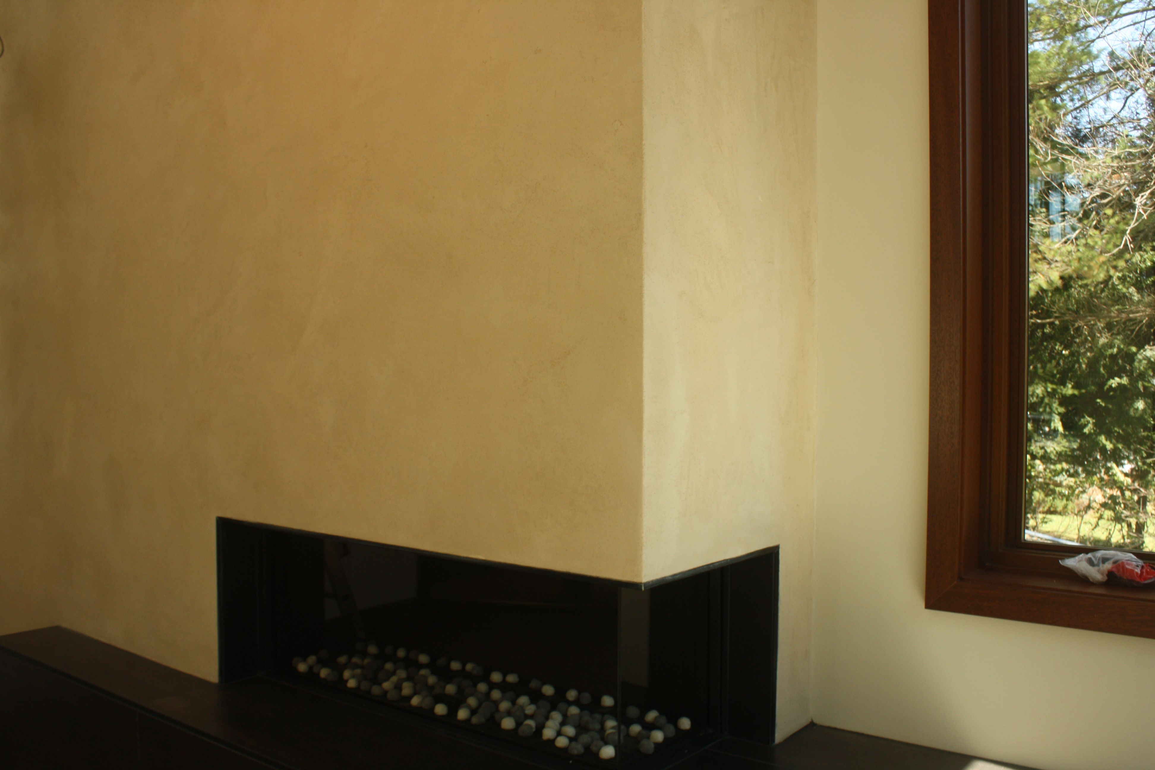 American Clay organic finish for contemporary fireplace wall ...