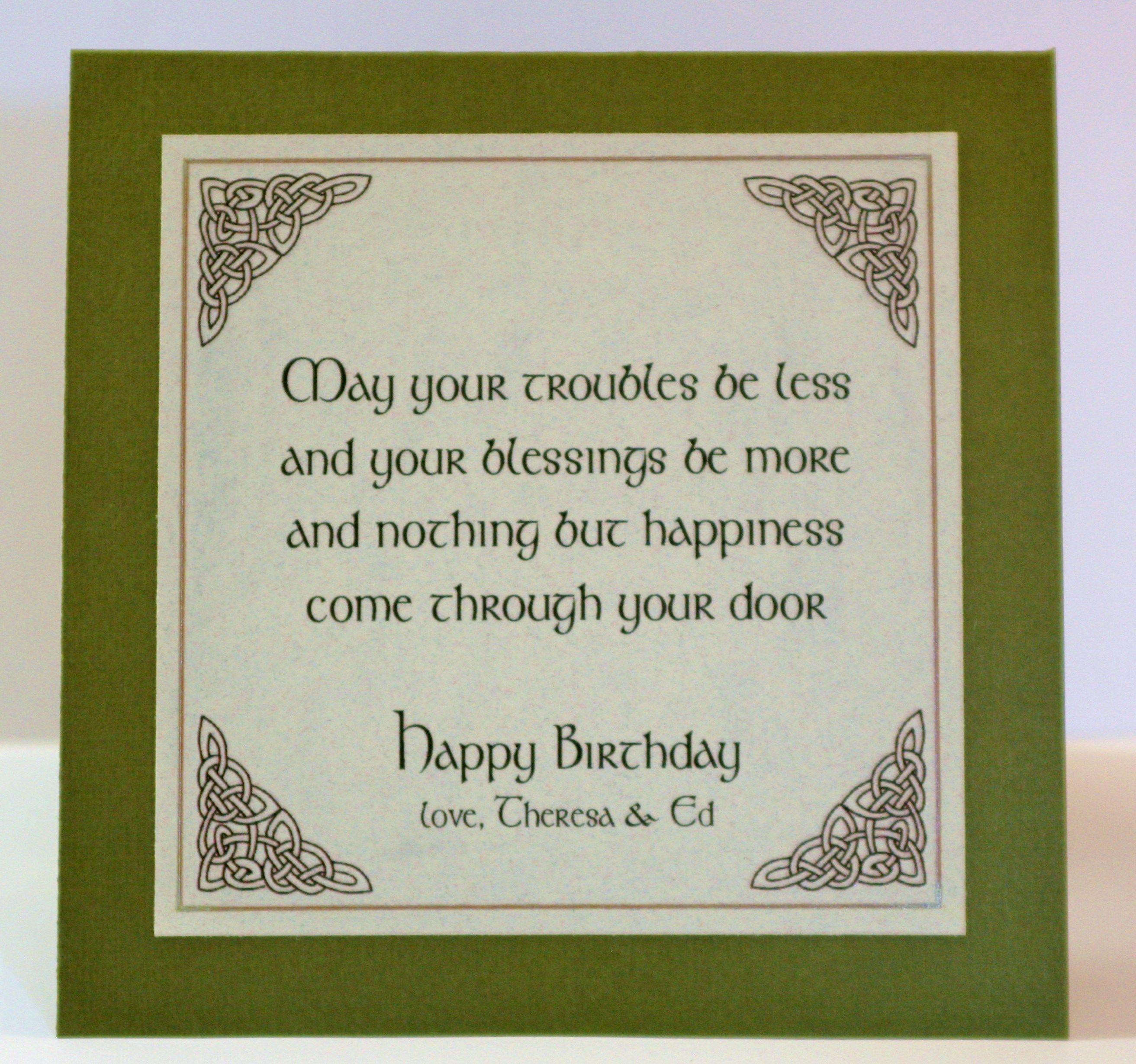 Pin By Theresa Szalanski On Cards I Made Card Making Birthday Irish Birthday Irish Birthday Blessing