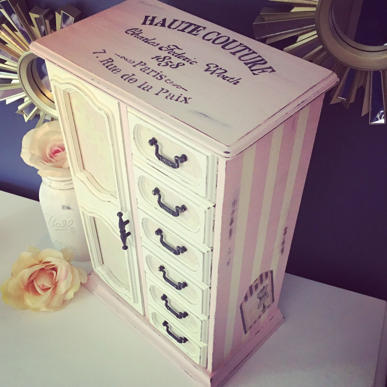 Large Pink and white tall vintage French inspired jewelry box