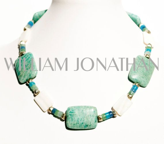 17 INCHES LONG AMAZONITE MINT GREEN GEMSTONE NECKLACE WITH QUARTZ CRYSTALS AND WHITE MOTHER OF PEARL BEADS by WilliamJonathann