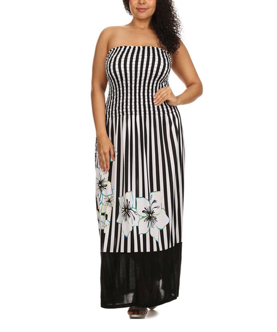 08865cc55eae Look at this Status Array Black & White Stripe Strapless Maxi Dress - Plus  on #zulily today!