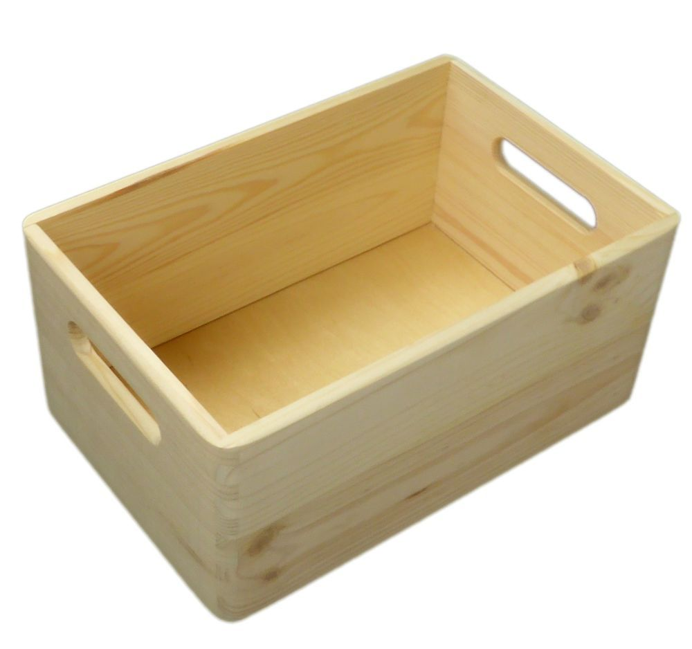 plain small pine wooden storage box trunk chest 30x20x15 cm
