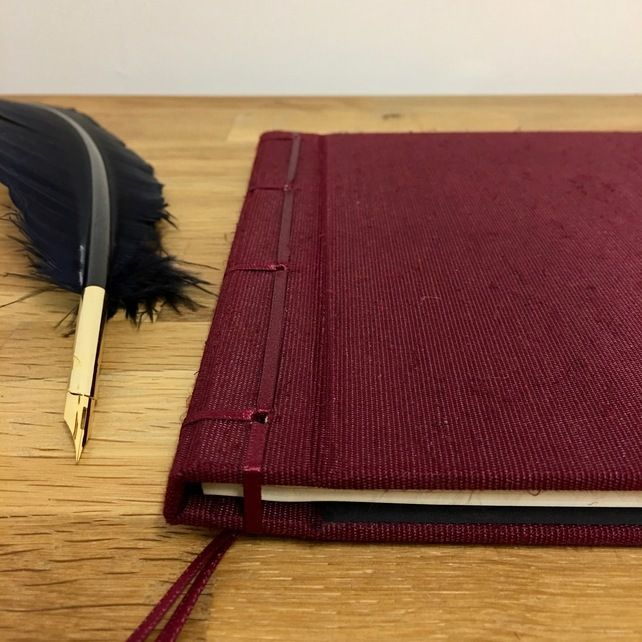 Maroon Silk Ribbon-bound Guest Book - 21cm