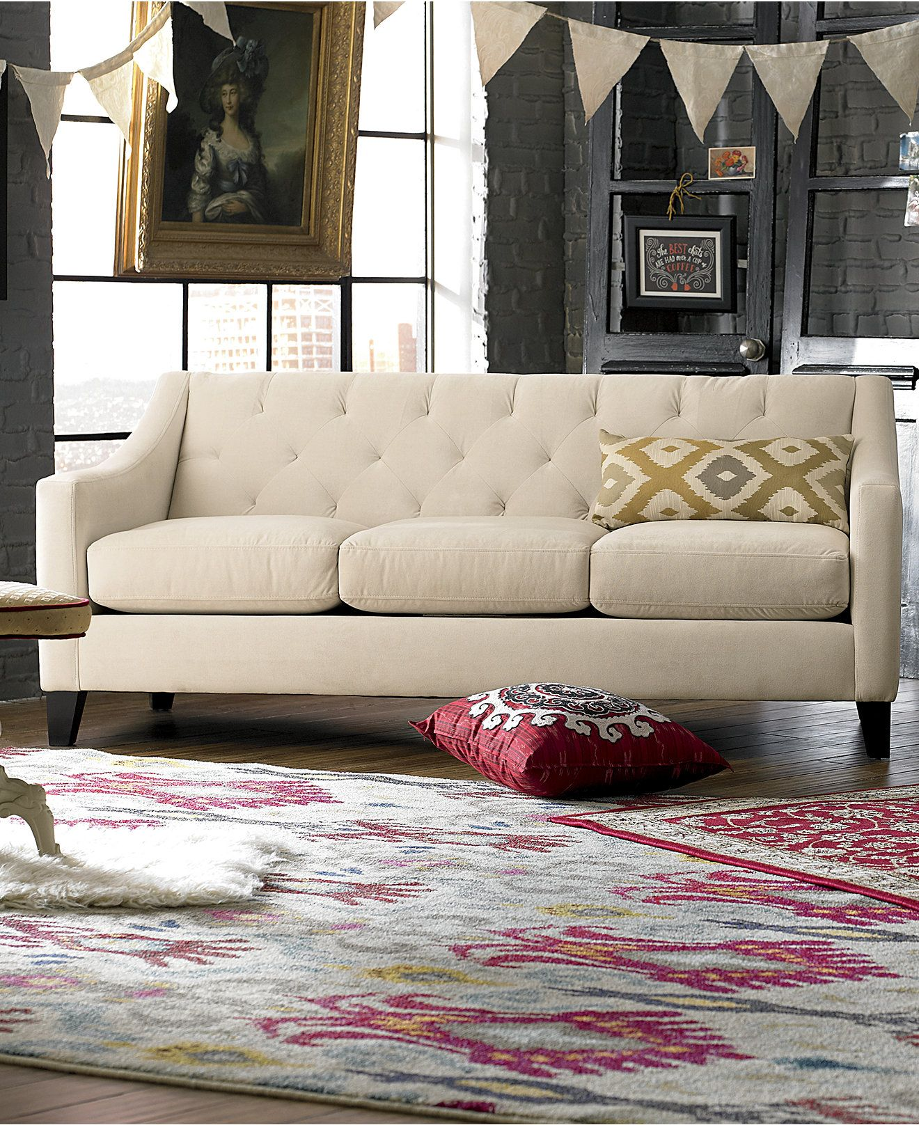 chloe on tufted velvet sofa mirror vine living room furniture collection