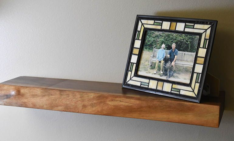 Cherry Live Edge Floating Shelf With Images Floating Shelves Live Edge Floating