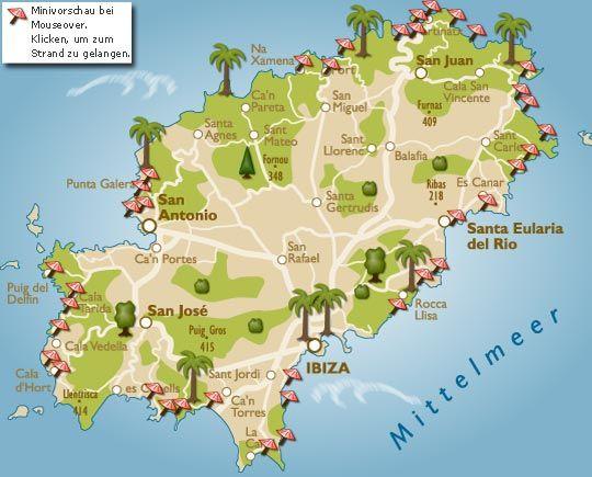 ibiza karte Strände auf Ibiza mit Karte: An den fast fünfzig Stränden der