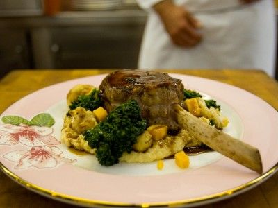 Veal Chop with Cheddar Grits and Roasted Cauliflower