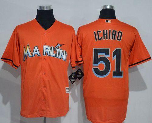 marlins  51 Ichiro Suzuki Orange New Cool Base Stitched MLB Jersey ... 8ce44dce2