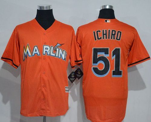 marlins  51 Ichiro Suzuki Orange New Cool Base Stitched MLB Jersey ... 3e66853fc